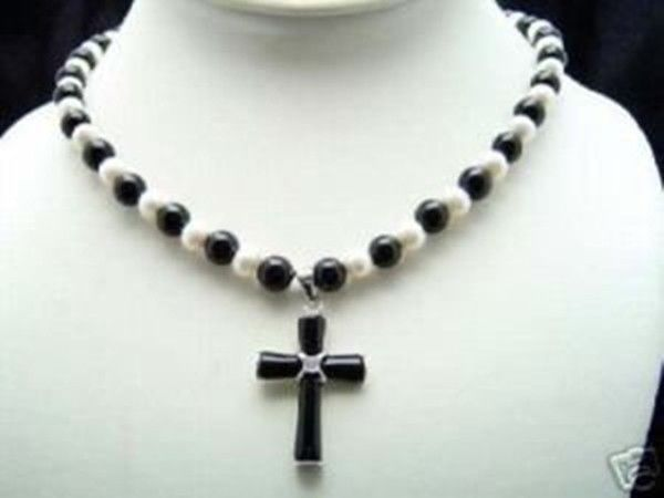 White Freshwater Pearl & Black Agate jade Cross Pendant Necklace 14k gold plated Fine women jewelry free shipping(China (Mainland))