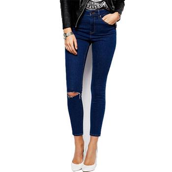 1883 дамы хлопок деним брюки рваные калько колено женщины завышенная талия джинсы ...