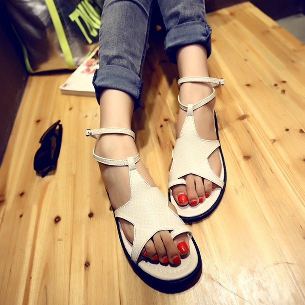 2015 New European American Fashion Women Flat Sandals Decorated Pentagram Personalized Clip Toe Casual Shoes - leyte's store