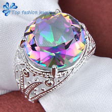 Free Shipping 2014 hot sale 925 sterling silver Round Delicate mystic topaz Ring rainbow jewelry
