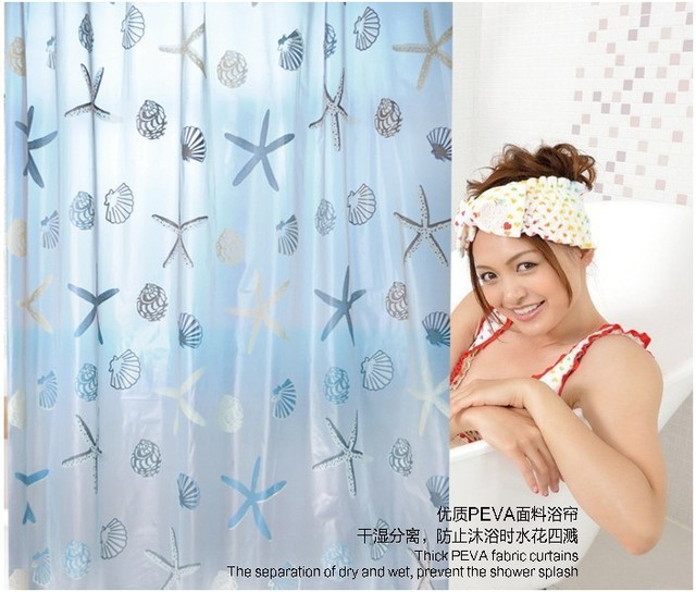 Большой размер водонепроницаемый морская звезда водонепроницаемый ванной занавески для душа туалет занавес для ванной розничная