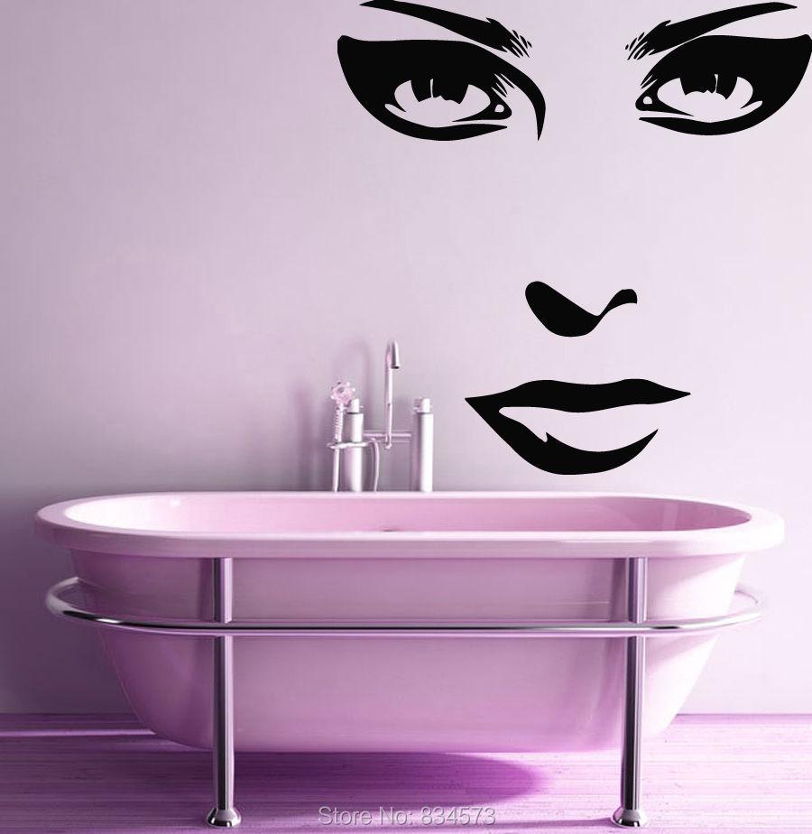 Beauty salon decor girl face make up wall art sticker - Stickers deco salon ...