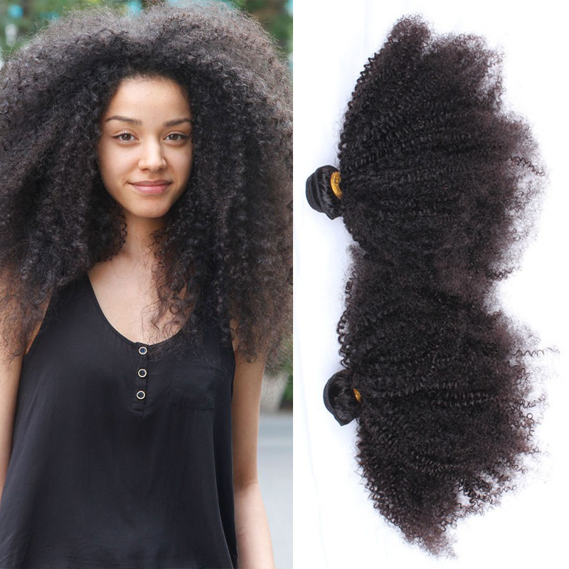 100% Mongolian virgin kinky curly hair extensions 2pcs lot 5A unprocessed kinky curly virgin hair natural black free shipping