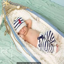 Newborn Baby Knitted Beanies Sailor Design Handmade Crochet Toddler Infant Photography Props Baby Shooting Prop(China (Mainland))
