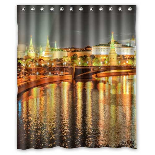 "Custom Russia Moscow Bridges Night lights Canal Cities Fans Printed 100% Waterproof Polyester Shower Curtain Size 60"" x 72""(China (Mainland))"