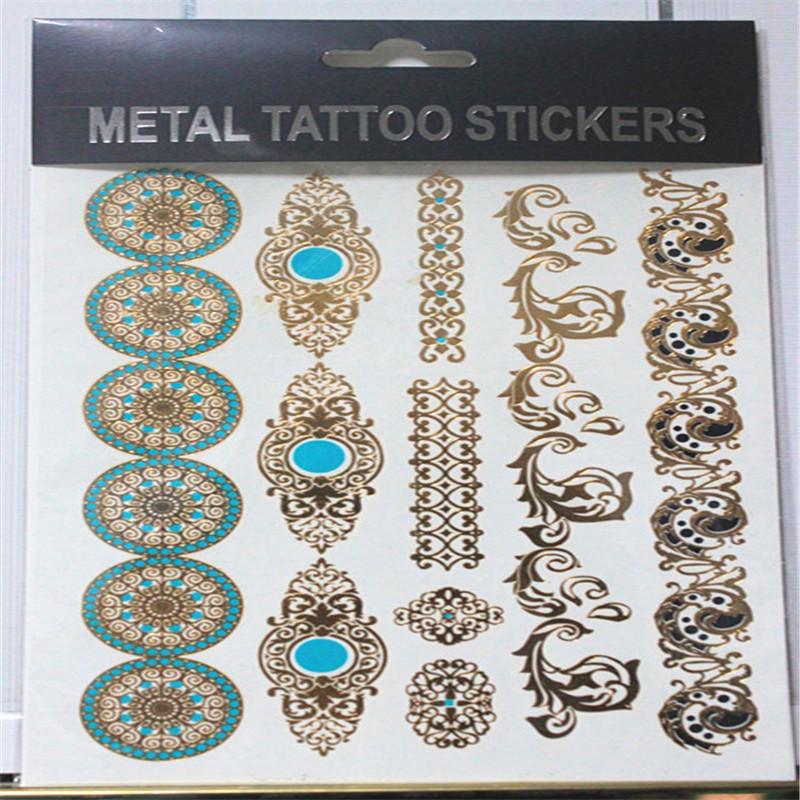 Гаджет  2014 New Sexy Product 1P Fashion Jewelry Metallic Gold Silver Temporary Tattoos Metal Tatoo Stickers Jewelry Flash Body Bling None Красота и здоровье