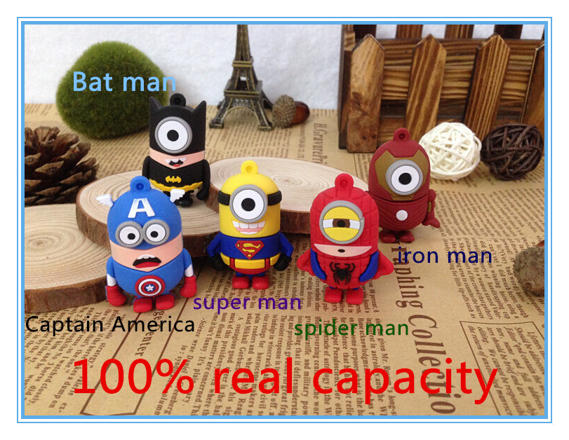100% real capacity minion super man bat man usb 2.0 flash memory stick pendrive USB Flash Pen Drive 8GB 16G pendriveping M23(China (Mainland))