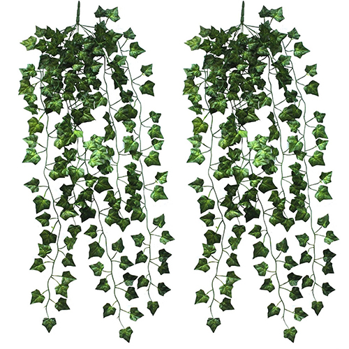 New Promption 2 Pcs Home Garden Wall Decoration Outdoor Artificial Hanging Vine Plant Leaves H9MN(China (Mainland))