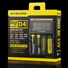 Original Nitecore D4 Digicharger LCD Display Battery Charger Intelligent 2.0 for 18650 14500 16340 26650 with Charging Cable(China (Mainland))