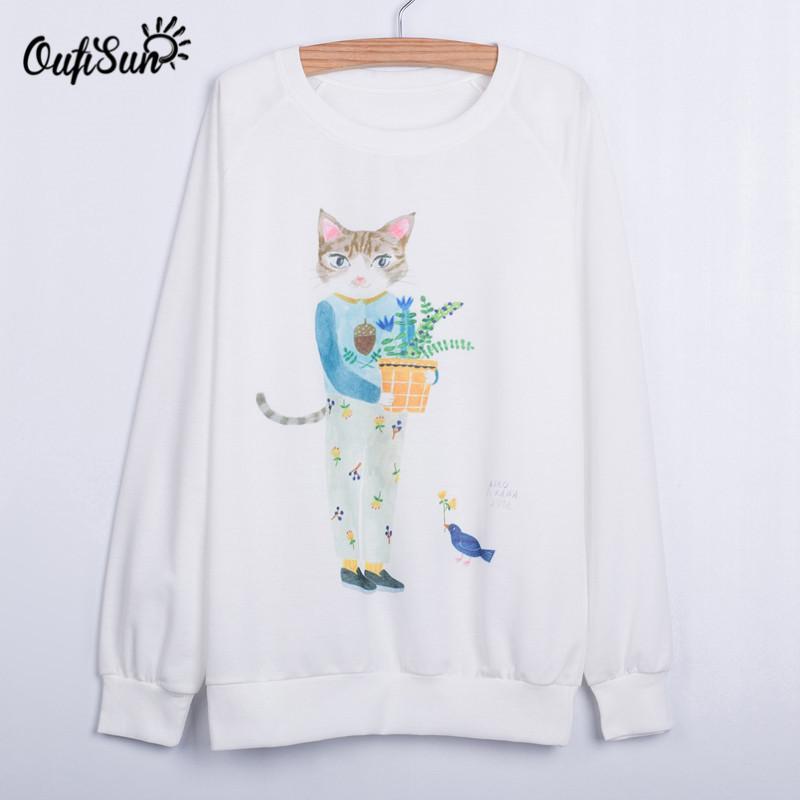 2016 new hoodies, explosion models European and American style Mr.Cat printing sweatshirt, handsome street sweatshirt(China (Mainland))