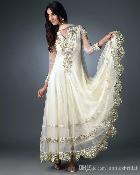 2015 New Design Long Sleeve India Style Wedding Dresses Chiffon Dubai Abaya Beaded Applique Evening Bridal Gowns Turkey Kaftan(China (Mainland))