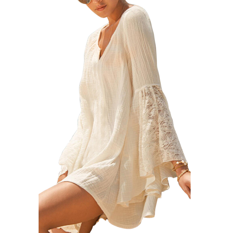 Women Sexy Summer Casual Lace Beach Dress V Neck Long Sleeve Cotton Beach Cover Up SwimWearОдежда и ак�е��уары<br><br><br>Aliexpress