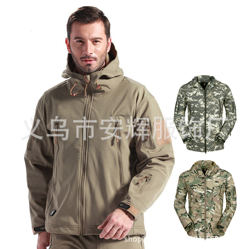 Shark skin soft shell outdoor men jacket Warm fleece men coat Large size mens jackets and coats in camouflage and pure color(China (Mainland))