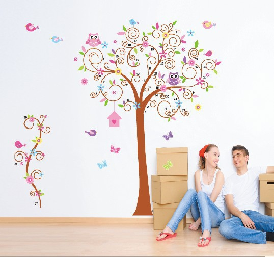Home decoration ZYPB-7250-NN 180 * 170cm Explosion models large curved wall 3D stickers Owl Tree plans to customize Christmas(China (Mainland))