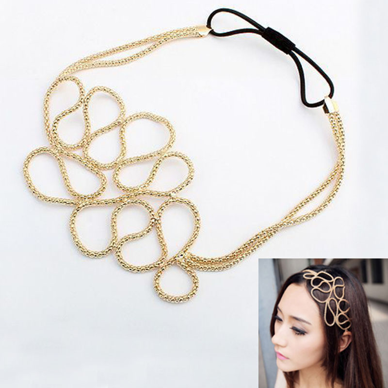 New Fashion Metallic Hollow Corn Chain Hairband Hair Accessories For Women(China (Mainland))