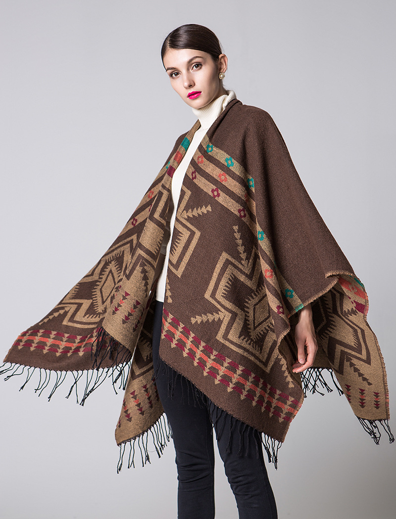Lengthened Thicken Scarves Winter Scarf Cashmere Poncho Women Bohemian Shawl Scarf Hoodies Blankets Cape Shawl Ponchos Capes