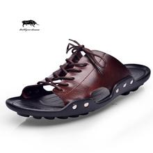 summer tide mens slippers British fashion men sandals genuine cow leather lazy beach sandals flip flops men summer shoes