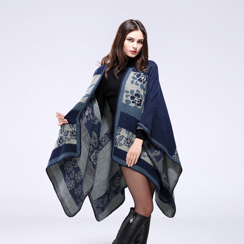 2016 Europe and the United States wind thicker winter flowers warm shawl cloak both sides of the coat Ms. scarf S020