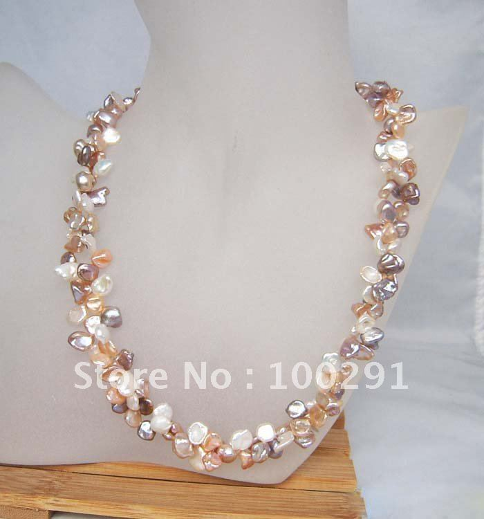 Free ship!!! Scarce Small Pieces Reborn Keshi Pearl beads bridesmaid gift Necklace Jewelry(China (Mainland))