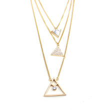 Buy Multilayer Punk Triangle Pendant Necklace Women 2016 Crystal Long Necklaces Gold Silver Plated Chain Jewelry SNE160048 for $7.20 in AliExpress store