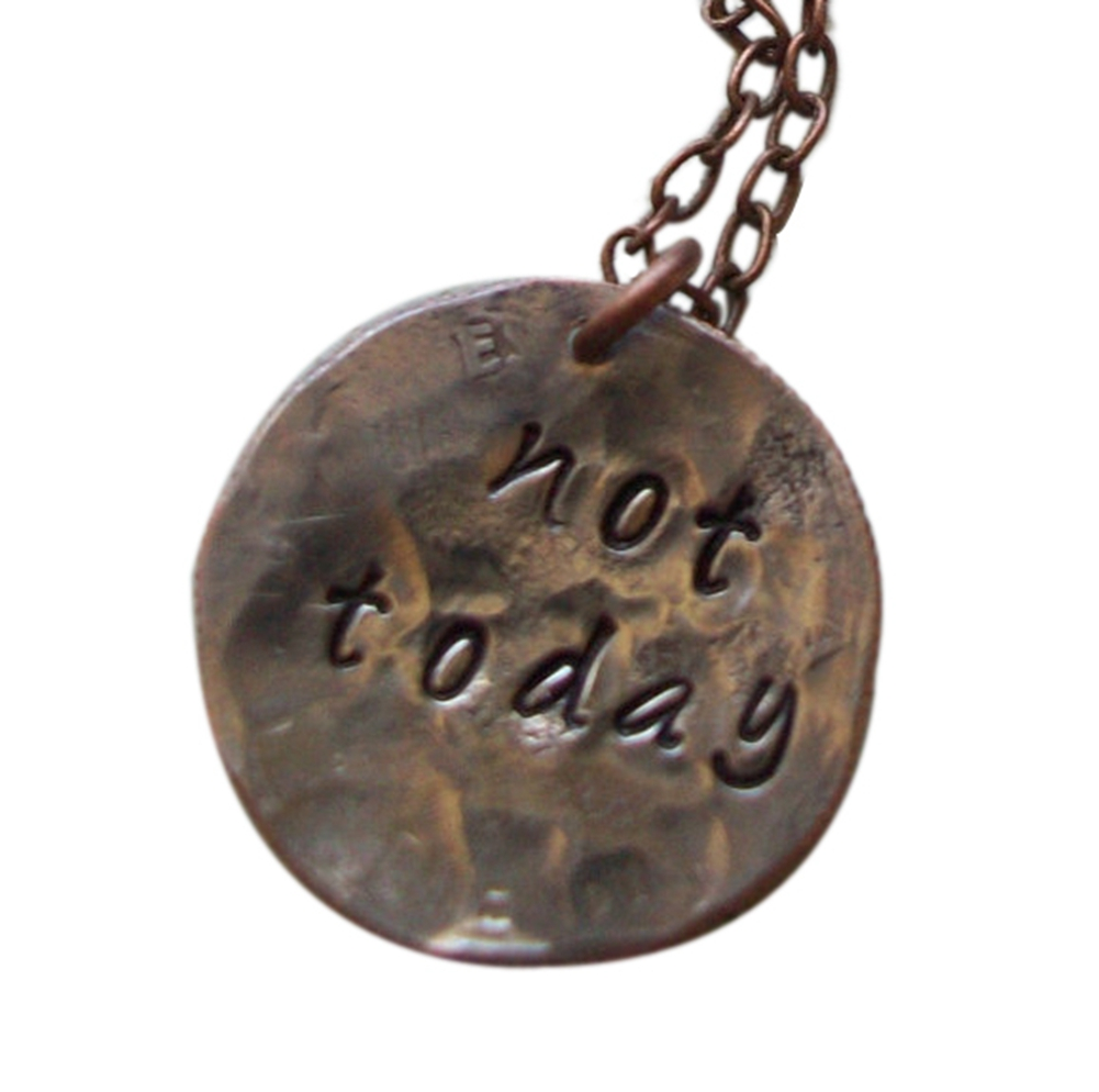 Rustic Old World Thrones style Necklace ~ Hand Hammered dime ~ hand metal stamped ~ not today(China (Mainland))