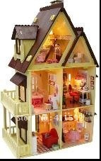 DIY miniature wooden dollhouse handmade doll house with furnitures My Little House