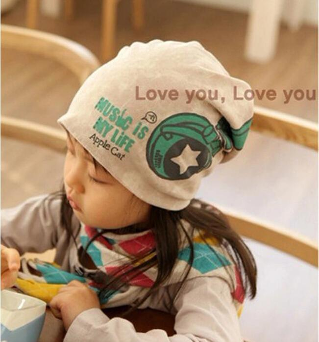 Brand New Promotion Korean Print Earphone Lovely Boys Girls Hats Winter Baby Caps Beanie Warm Gifts(China (Mainland))