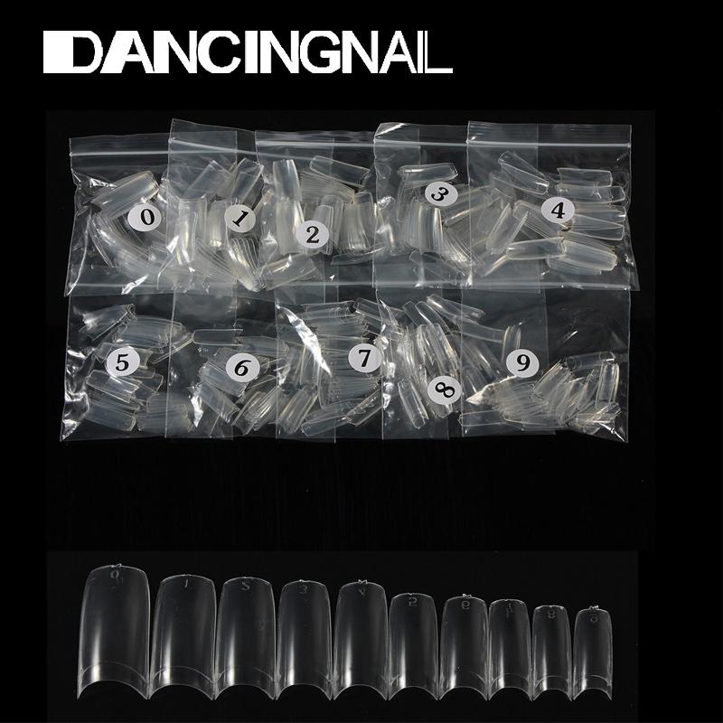 Wholesale French 500Pcs Clear Half Transparent Acrylic UV Gel Manicures Fake False Nails Nail Art Tips Tools