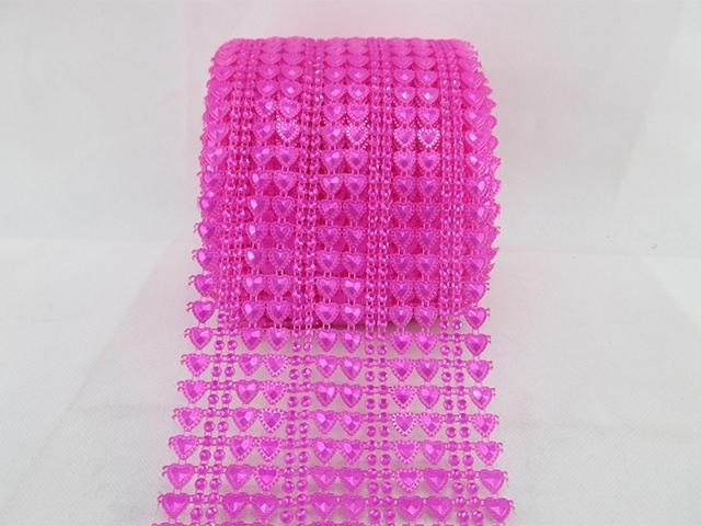 1Y40569 W:115mm W:115mm hotpink heart dot plastic rhinestone mesh trimming sew on mesh trim Wedding Decoration(China (Mainland))