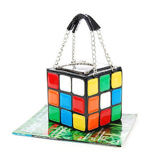 Colorful 2014 portable magic cube bag summer tote bag personalized japanned leather small bag(China (Mainland))