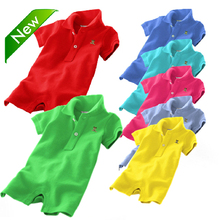Newest 2015 summer unisex baby rompers polo baby boys girls overall 100 cotton baby jumpsuits size