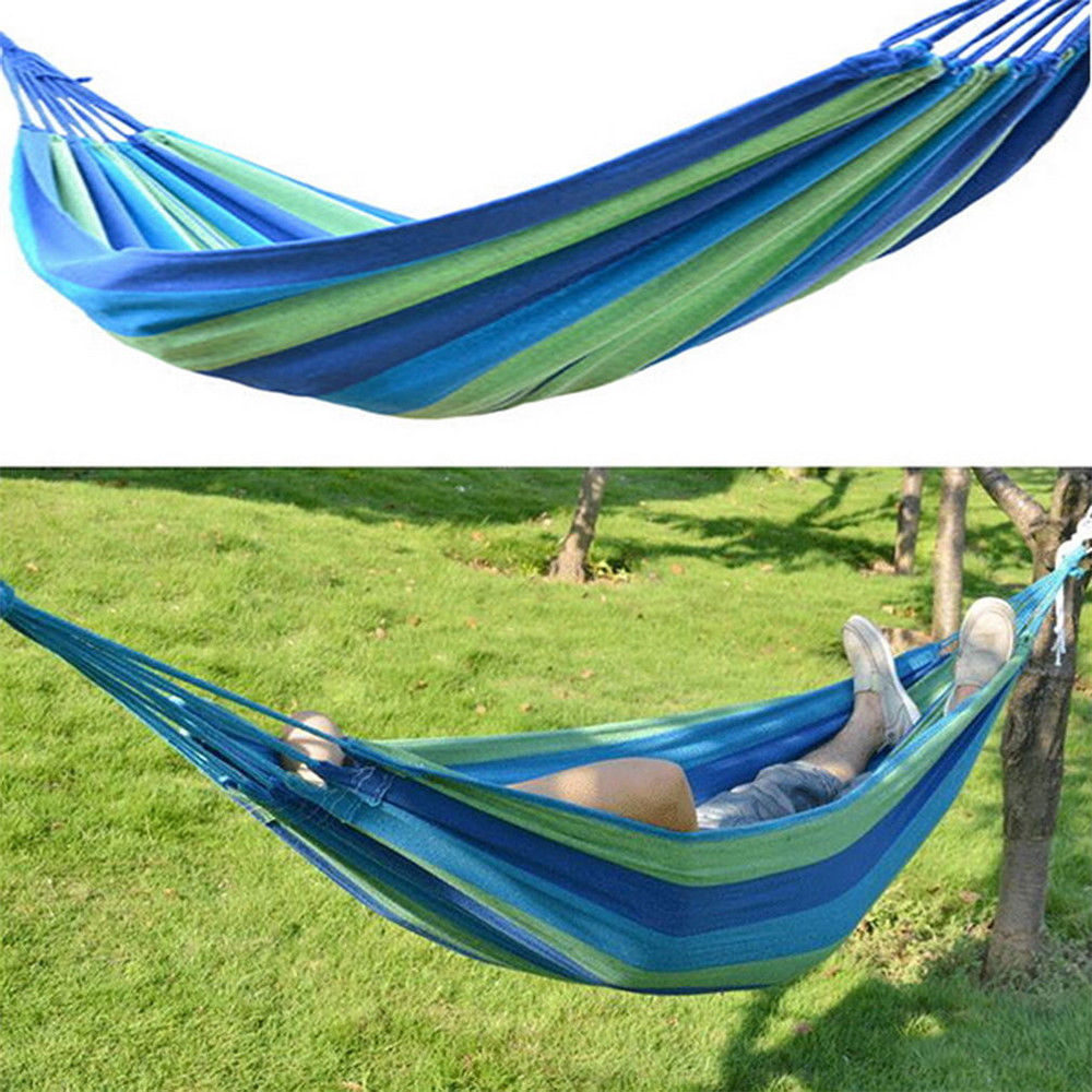 New portable canvas garden hammock outdoor camping travel for Fabric hammock chair swing
