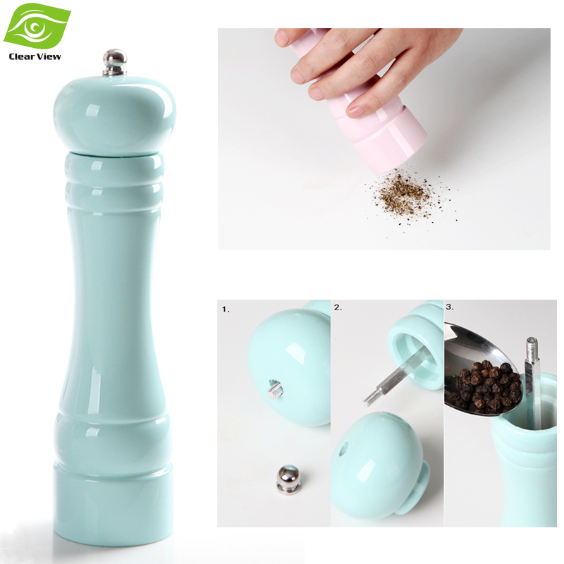Salt And Pepper Grinder Household Manual Pepper Mill Wood + Ceramic Core Macarons Color 1PC Send By Random Color
