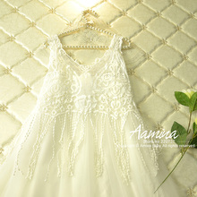 [Aamina] White Lace tassels girls maxi dress wedding party dresses, summer new 2016 ,wholesale baby boutique clothing, #1551643