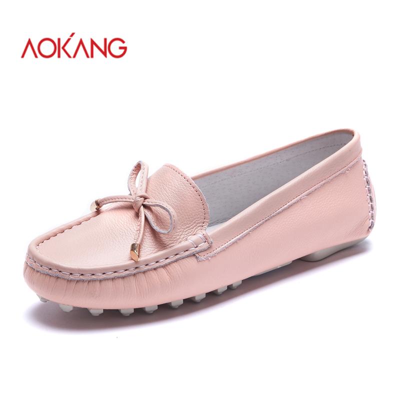 AOKANG 2016New Arrival Women Flats shoes Brand Women shoes Women Genuine Leather shoes white black pink yellow free shipping(China (Mainland))