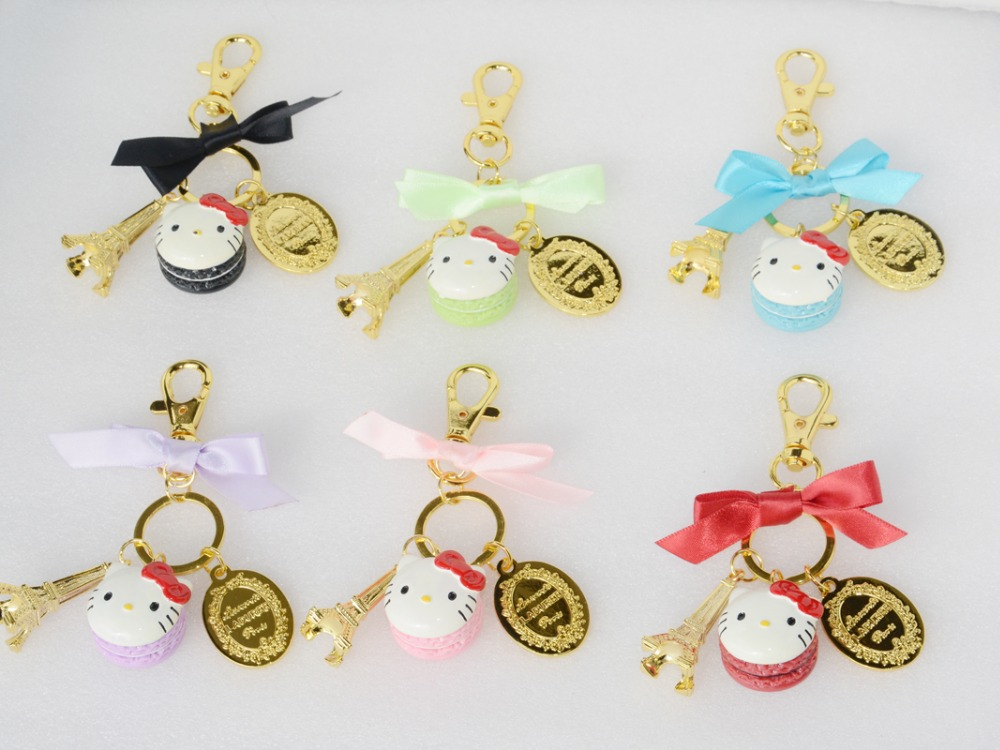 2016 New Classic Cartoon Cute Hello Kitty Keychain Key Chain Key Ring Key Holder laduree Macaron Bag Charms Car Keychains Gifts(China (Mainland))