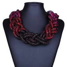 European knitting multicolour necklace fashion jewelry fashion simple geometric necklace Wholesale XL60641