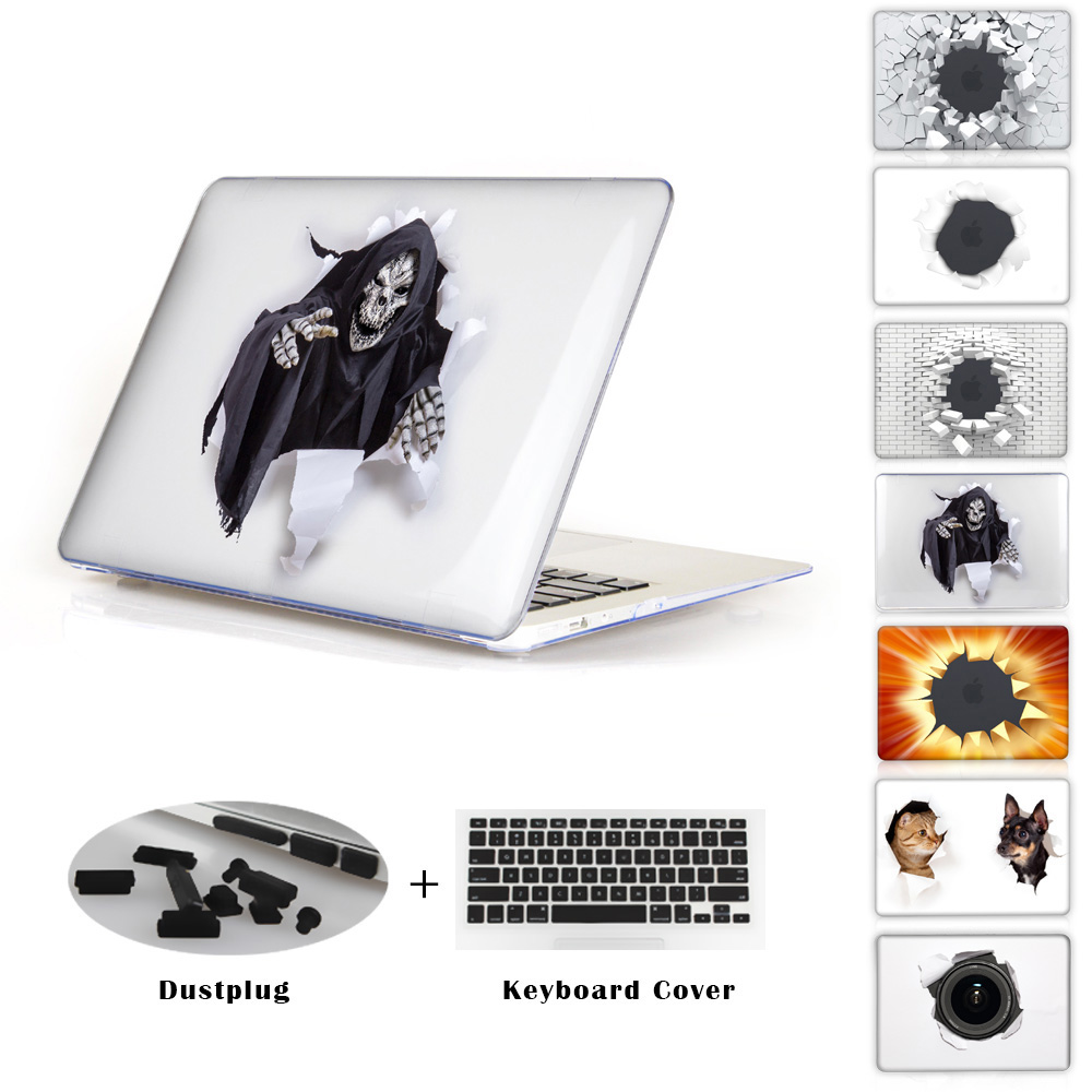 Crystal Hard PC Case Cover For Macbook Air 11 13 Pro 13 15 A1465 A1369 A1502 A1398 A1278 A1286 Grim reaper looking through hole(China (Mainland))