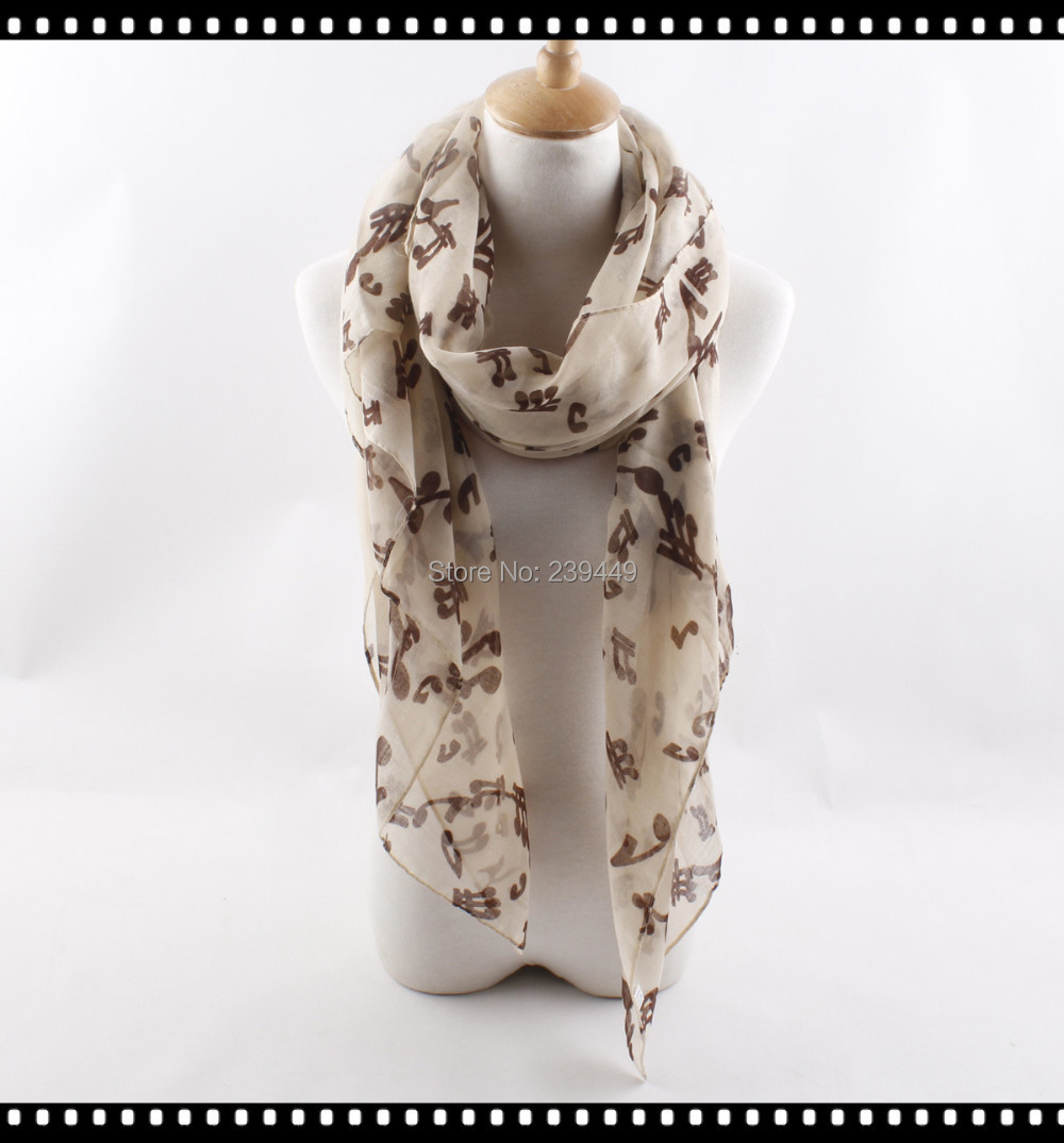 6 Colors Fashion Music notation scarf lady Punctuation shawl musical notes infinitely printing The best gift for music lovers(China (Mainland))