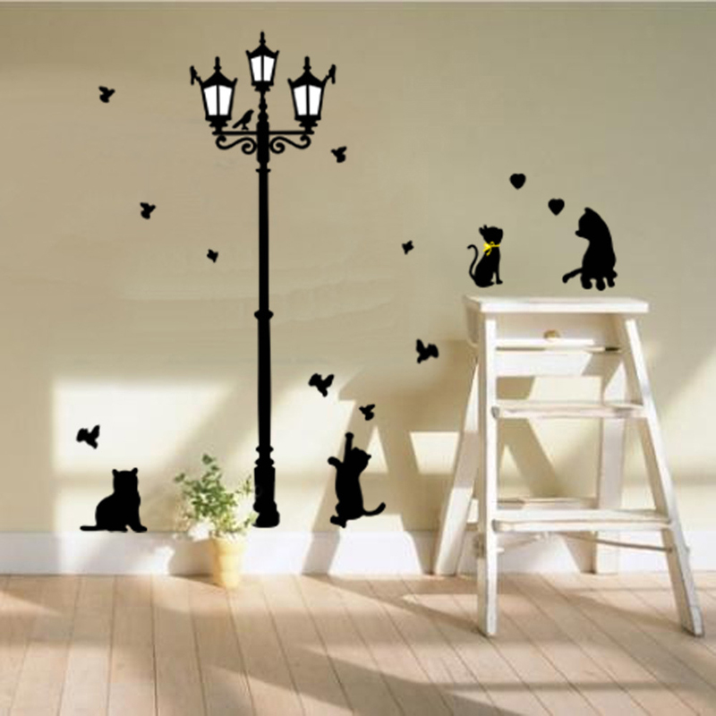Home decoration funny 4 cats wall sticker kids wallstickers ...
