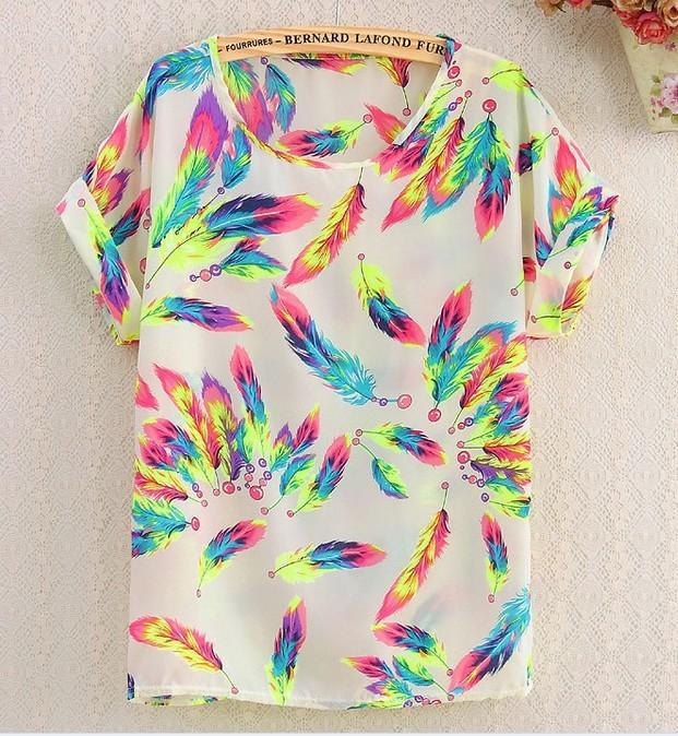 2015 Summer Style Short Kimono Blouse Women Tops Blouses Batwing Blusa Feminina Chiffon blouse Plus Size Blouse Shirt Woman(China (Mainland))