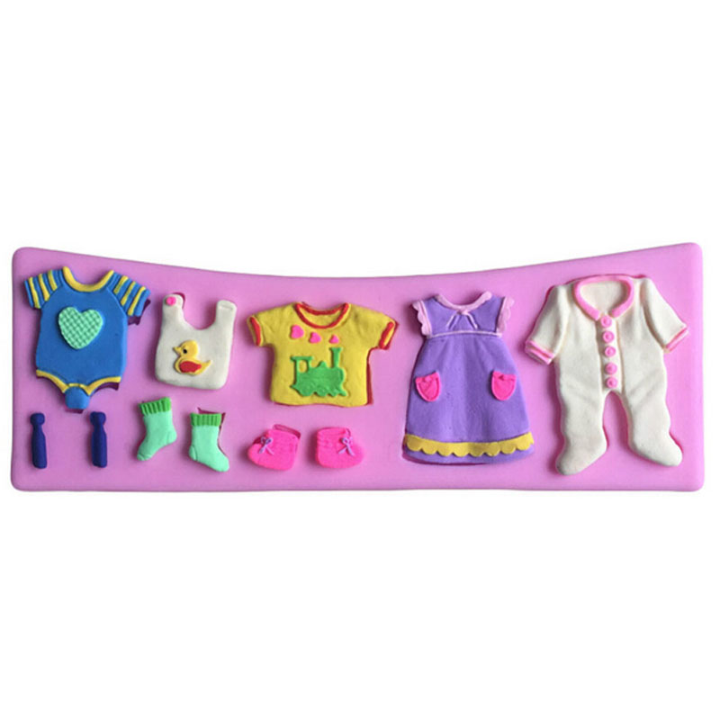 Sugercraft 3D Baby Clothes Silicone Fondant Mould Cake Decorating Mold Tools DIY(China (Mainland))
