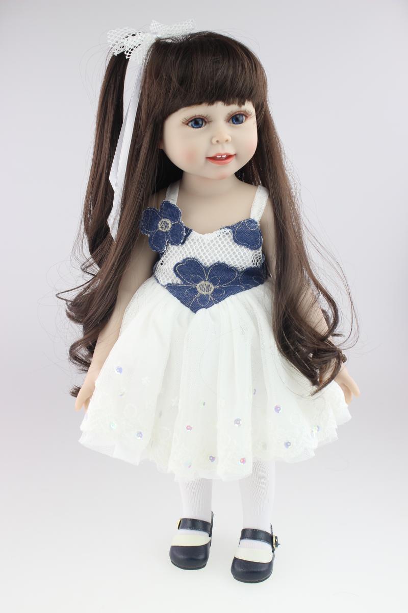18 Дюймов American Girl Куклы с Длинными Прямыми Волосами в Цельный Платье Реалистичные Силиконовые Baby Doll