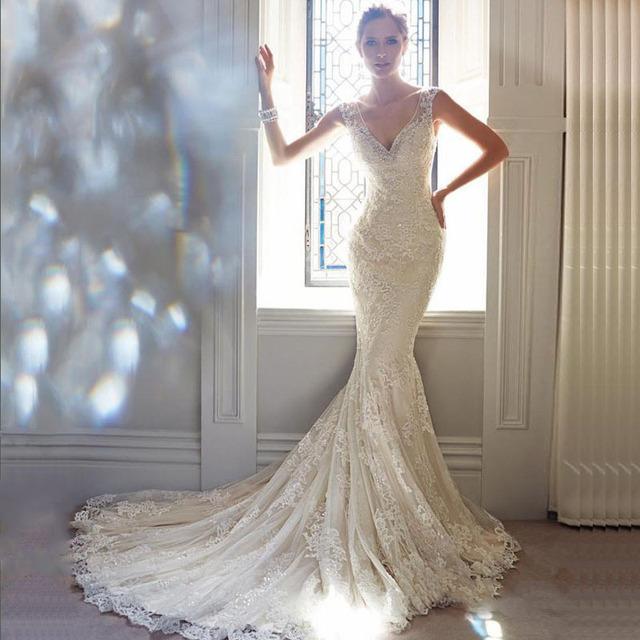 2016 Vestido де Noiva новый элегантный русалка милая кружева свадебное платье с поезд само кнопку назад свадебное платье невесты платья
