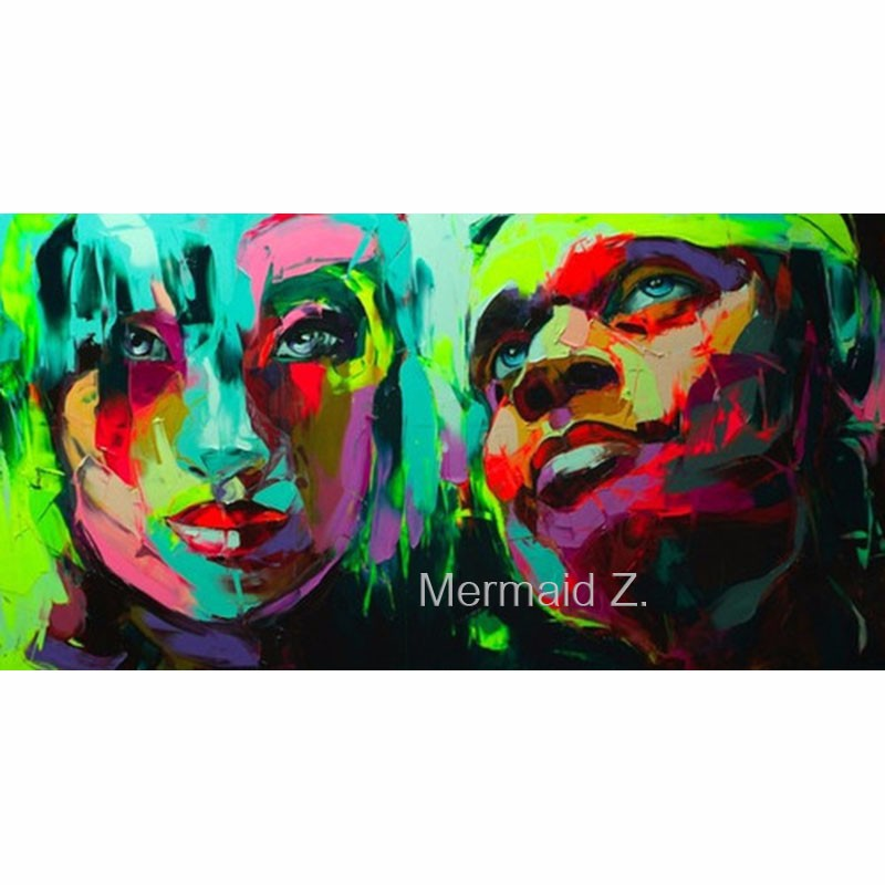 Buy Knife Palette Picture Modern Pop Art Nielly Francoise Hand Painted Abstract Oil Paintings Art Wall Decoration Cool Face Fine Art cheap
