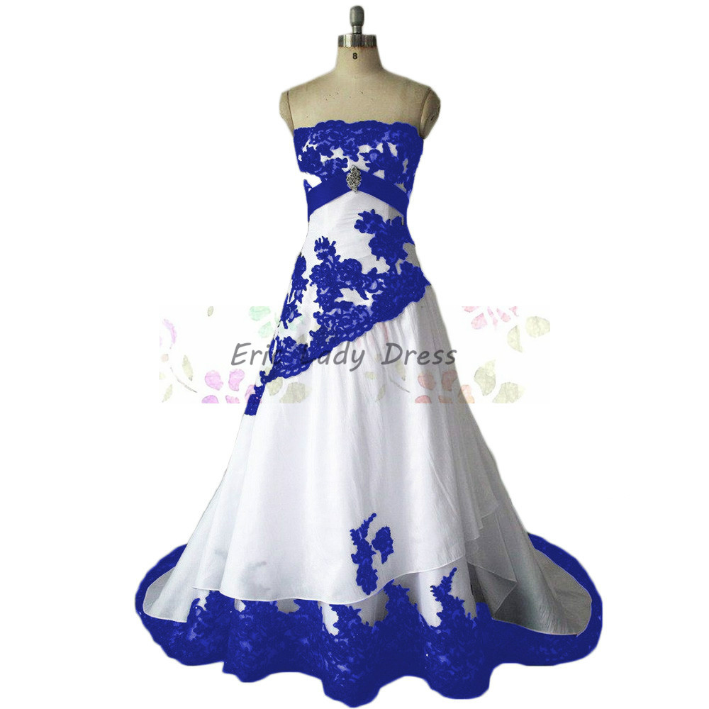 2016 vintage wedding dress royal blue lace appliques for Blue lace wedding dress