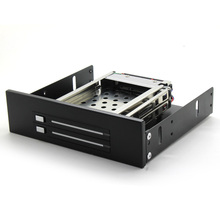 "HDD Rack  Black Aluminum 2 Bay 2.5"" SATA HDD Mobile Rack  for ODD location DVD to HDD Adapter free shipping(China (Mainland))"