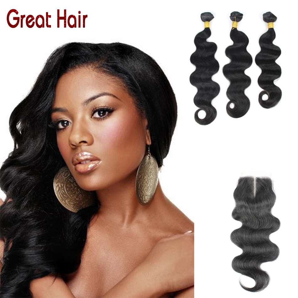 Grade 7A Brazilian Virgin Hair With Closure Cheap Brazilian Human Hair Weave 3 Bundles Brazilian Body Wave With Lace Closure