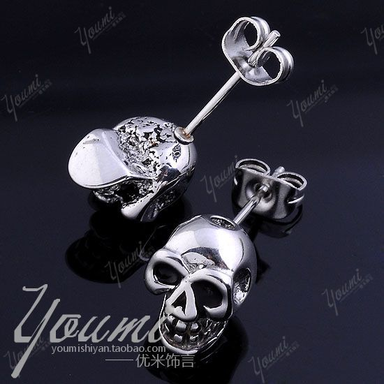 Fashion accessories stainless steel skull stud earring male punk - enquan zhang's store