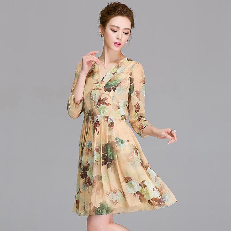 2016 New summer style High-end office dress 100% Real Silk Print Dress WomenPlus Size S-XXL Dresses ukraine women clothing(China (Mainland))